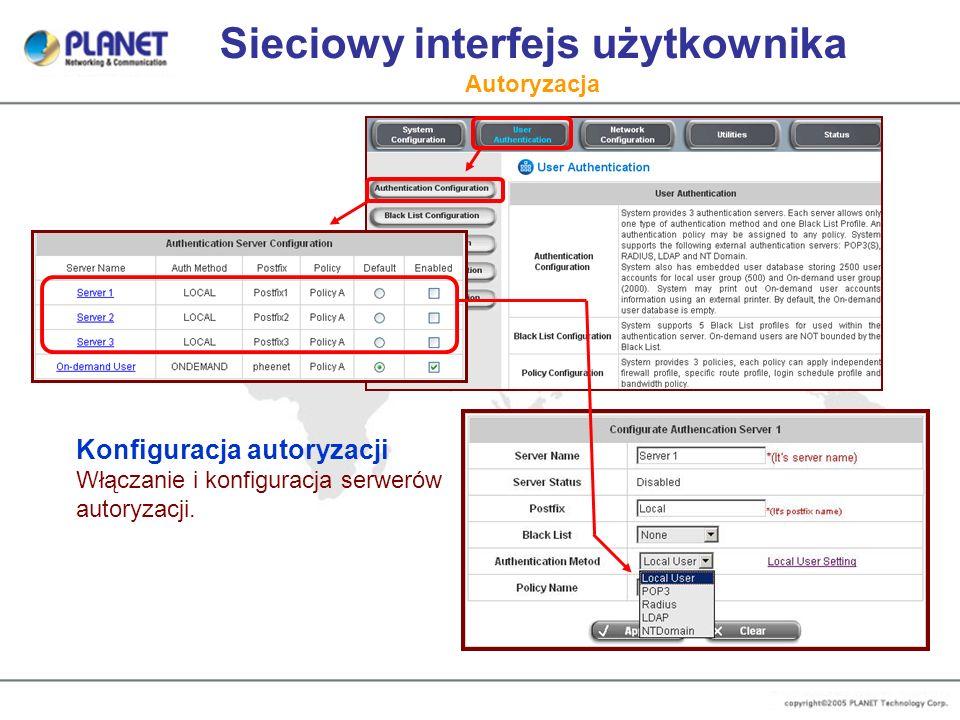Sieciowy interfejs użytkownika Autoryzacja