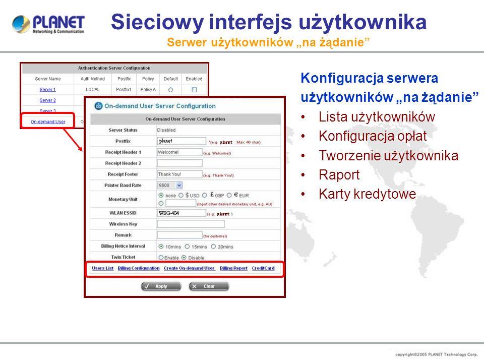 """Sieciowy interfejs użytkownika Serwer użytkowników """"na żądanie"""