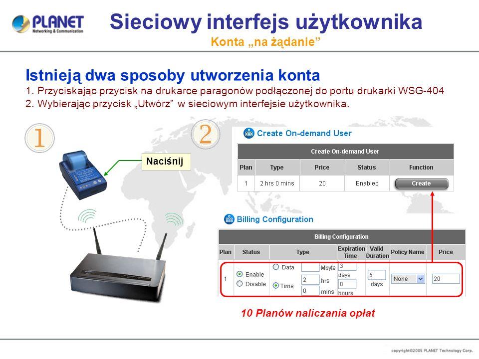 """Sieciowy interfejs użytkownika Konta """"na żądanie"""