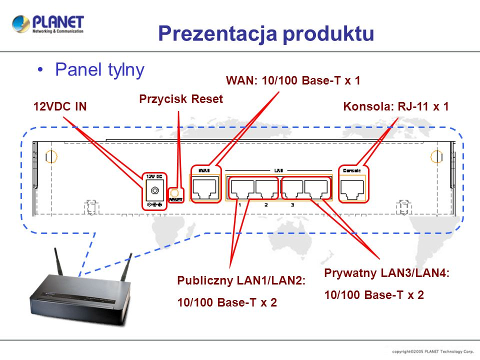 Prezentacja produktu Panel tylny WAN: 10/100 Base-T x 1 Przycisk Reset