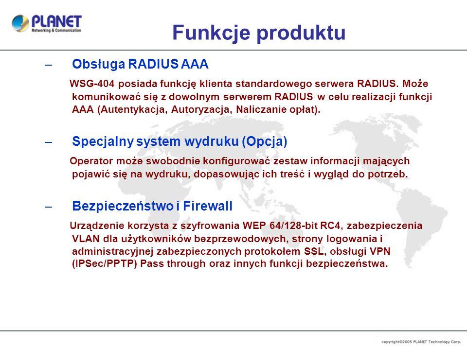 Funkcje produktu Obsługa RADIUS AAA