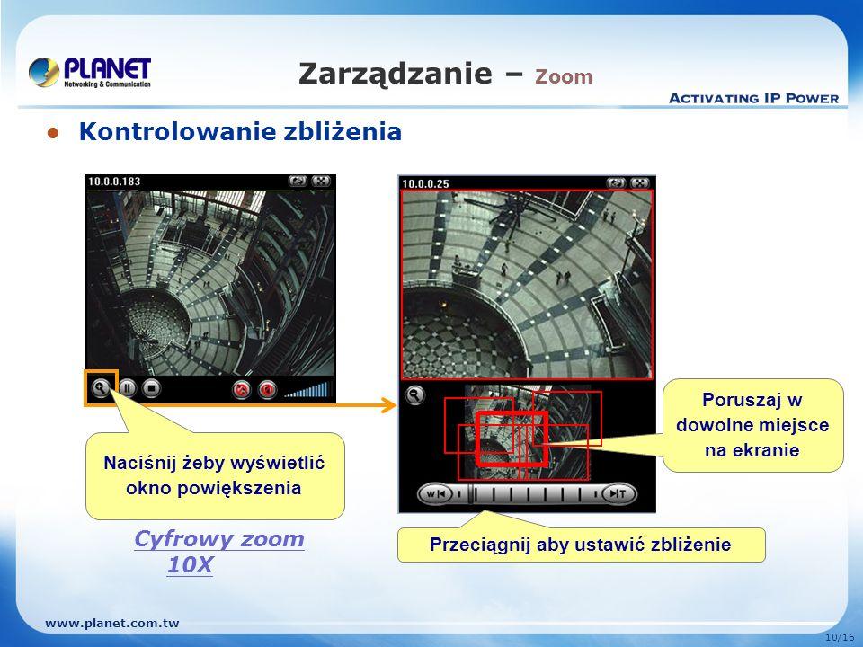 Zarządzanie – Zoom Kontrolowanie zbliżenia Cyfrowy zoom 10X