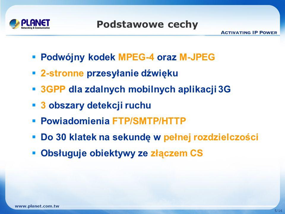 Podstawowe cechy Podwójny kodek MPEG-4 oraz M-JPEG. 2-stronne przesyłanie dźwięku. 3GPP dla zdalnych mobilnych aplikacji 3G.