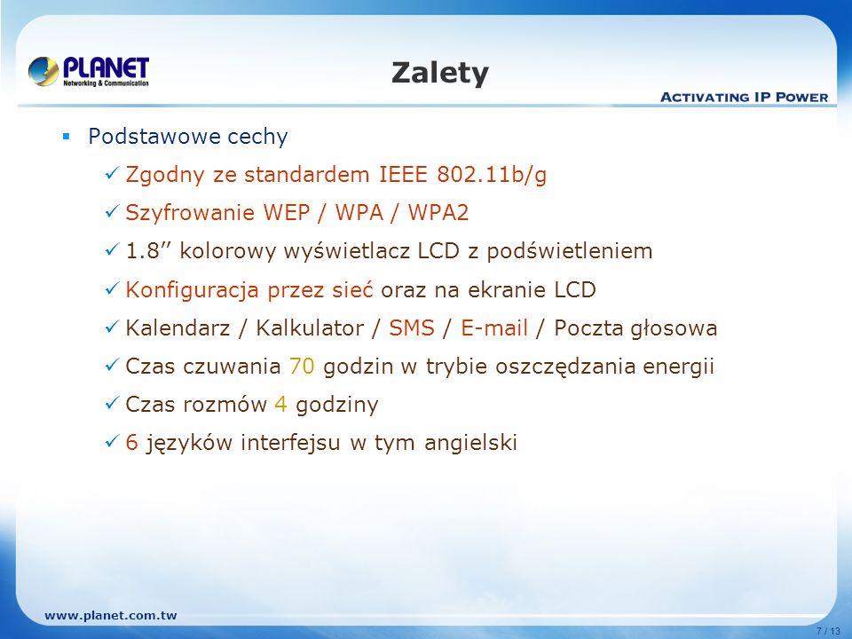 Zalety Podstawowe cechy Zgodny ze standardem IEEE 802.11b/g