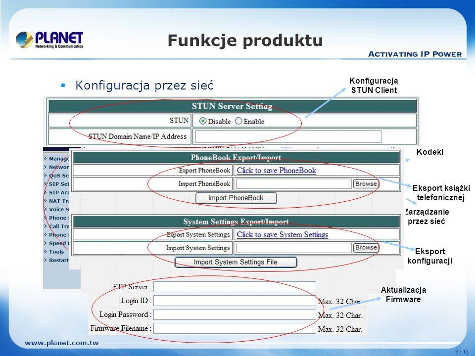 Funkcje produktu Konfiguracja przez sieć Konfiguracja STUN Client