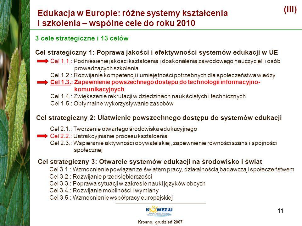 (III)Edukacja w Europie: różne systemy kształcenia i szkolenia – wspólne cele do roku 2010. 3 cele strategiczne i 13 celów.
