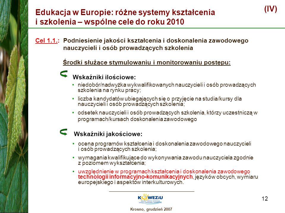 (IV) Edukacja w Europie: różne systemy kształcenia i szkolenia – wspólne cele do roku 2010.