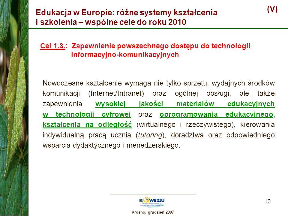 (V) Edukacja w Europie: różne systemy kształcenia i szkolenia – wspólne cele do roku 2010.