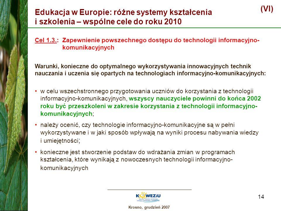 (VI)Edukacja w Europie: różne systemy kształcenia i szkolenia – wspólne cele do roku 2010.