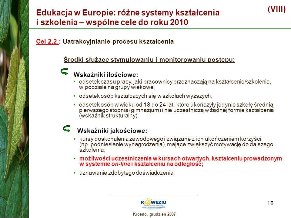 (VIII) Edukacja w Europie: różne systemy kształcenia i szkolenia – wspólne cele do roku 2010. Cel 2.2.: Uatrakcyjnianie procesu kształcenia.
