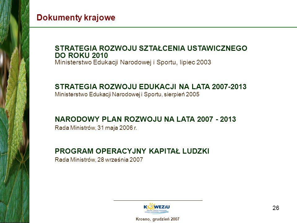 Dokumenty krajowe STRATEGIA ROZWOJU SZTAŁCENIA USTAWICZNEGO DO ROKU 2010 Ministerstwo Edukacji Narodowej i Sportu, lipiec 2003.