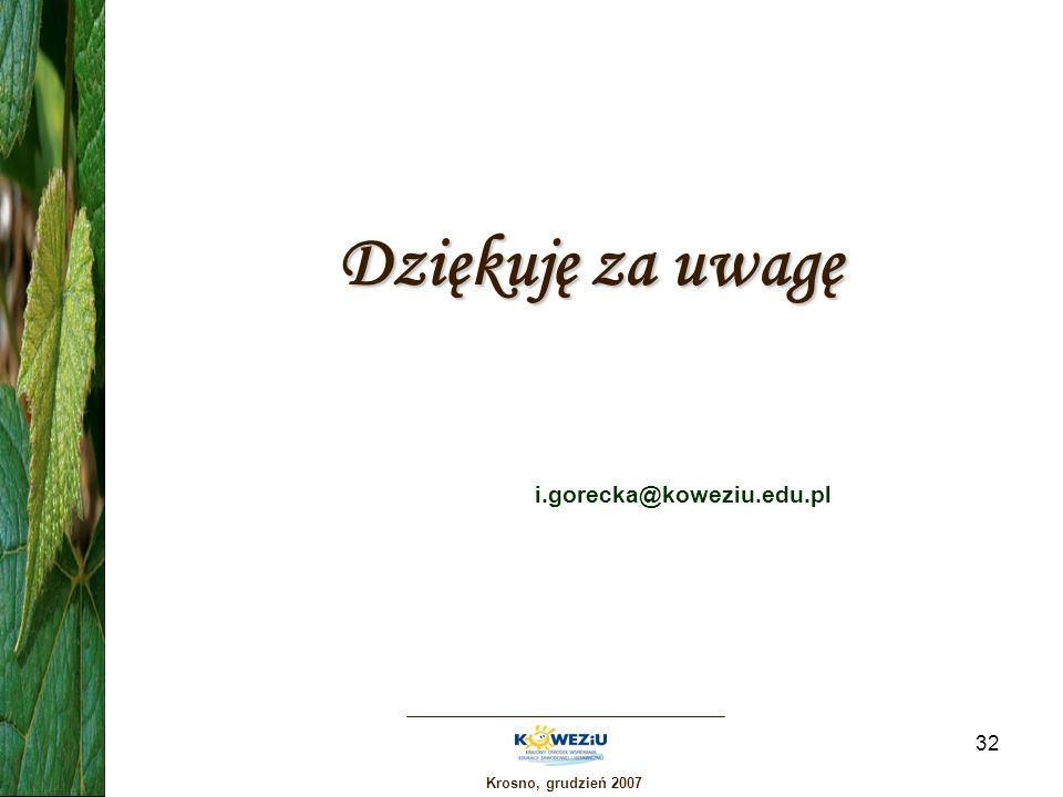 Dziękuję za uwagę i.gorecka@koweziu.edu.pl