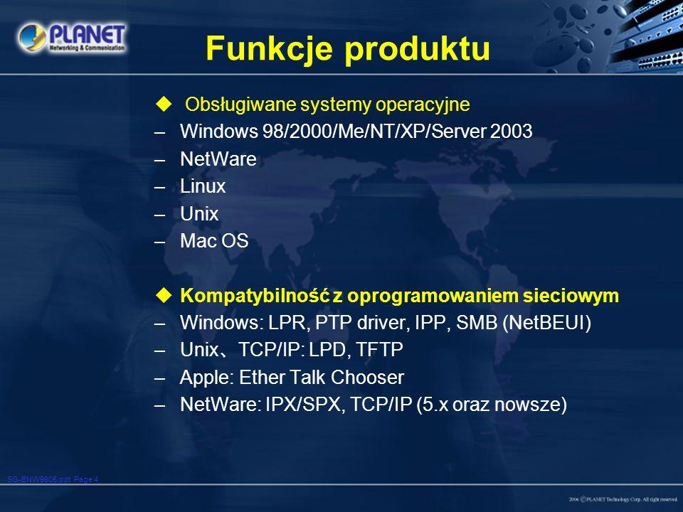 Funkcje produktu Obsługiwane systemy operacyjne