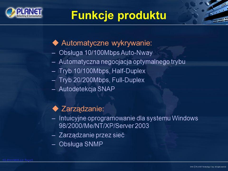 Funkcje produktu Automatyczne wykrywanie: Zarządzanie: