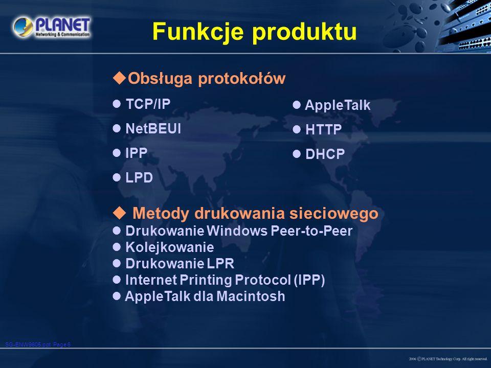 Funkcje produktu Obsługa protokołów Metody drukowania sieciowego