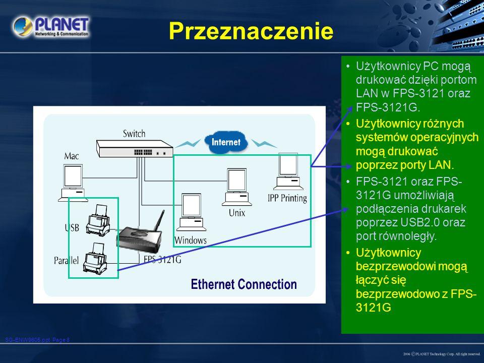 Przeznaczenie Użytkownicy PC mogą drukować dzięki portom LAN w FPS-3121 oraz FPS-3121G.