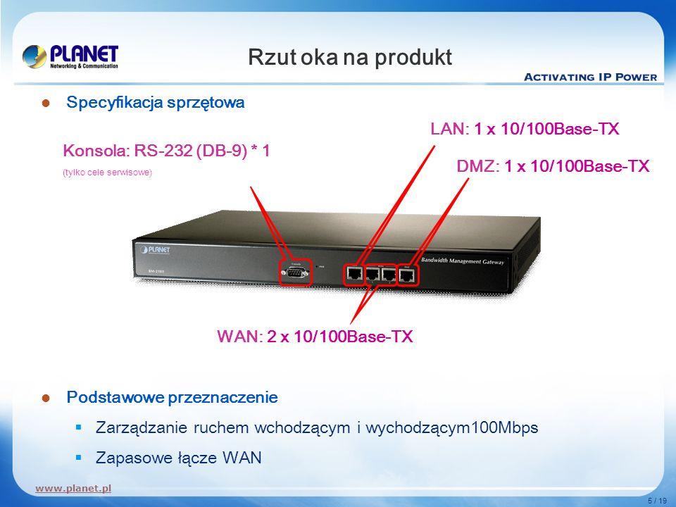 Rzut oka na produkt Specyfikacja sprzętowa LAN: 1 x 10/100Base-TX