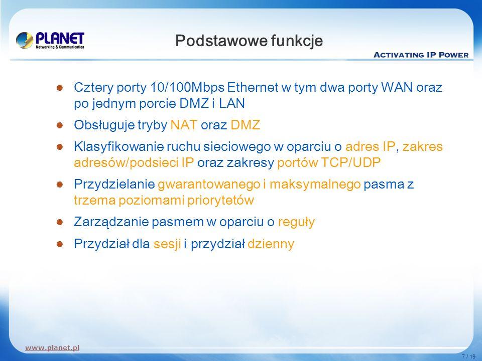 Podstawowe funkcjeCztery porty 10/100Mbps Ethernet w tym dwa porty WAN oraz po jednym porcie DMZ i LAN.