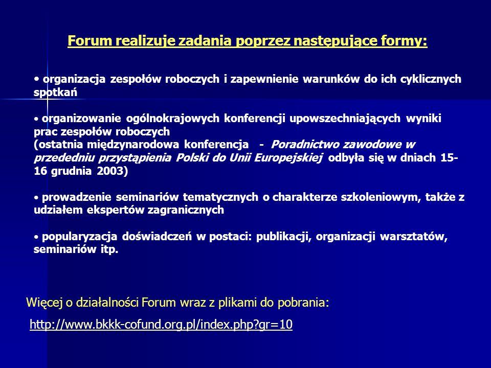 Forum realizuje zadania poprzez następujące formy: