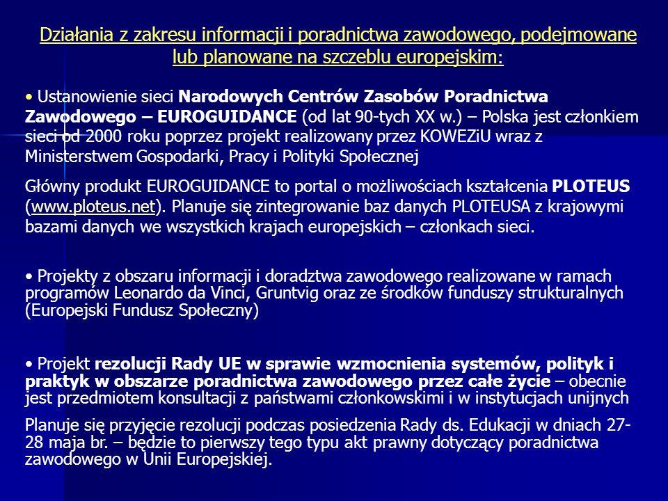 Działania z zakresu informacji i poradnictwa zawodowego, podejmowane lub planowane na szczeblu europejskim: