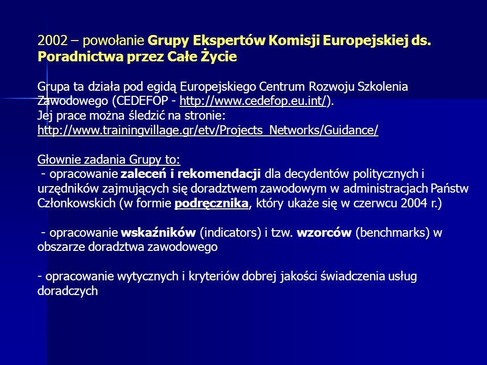 2002 – powołanie Grupy Ekspertów Komisji Europejskiej ds