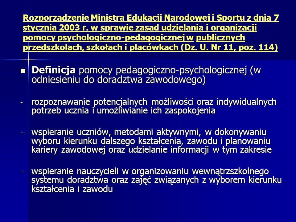 Rozporządzenie Ministra Edukacji Narodowej i Sportu z dnia 7 stycznia 2003 r. w sprawie zasad udzielania i organizacji pomocy psychologiczno-pedagogicznej w publicznych przedszkolach, szkołach i placówkach (Dz. U. Nr 11, poz. 114)