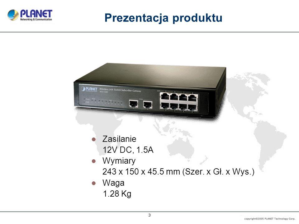 Prezentacja produktu Zasilanie 12V DC, 1.5A Wymiary