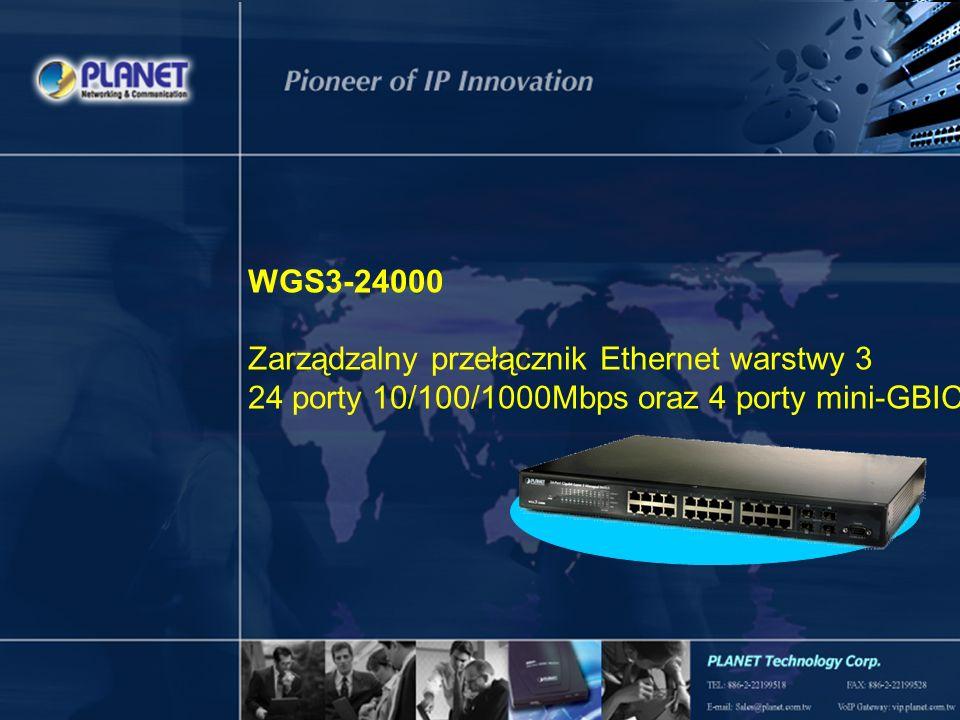 WGS3-24000 Zarządzalny przełącznik Ethernet warstwy 3 24 porty 10/100/1000Mbps oraz 4 porty mini-GBIC