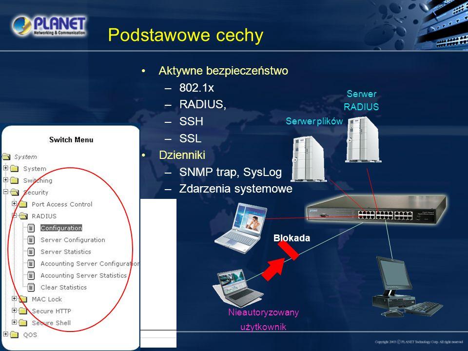 Podstawowe cechy Aktywne bezpieczeństwo 802.1x RADIUS, SSH SSL