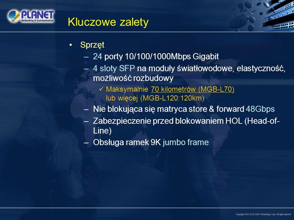 Kluczowe zalety Sprzęt 24 porty 10/100/1000Mbps Gigabit