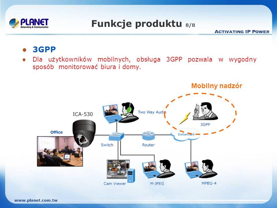 Funkcje produktu 8/8 3GPP Mobilny nadzór