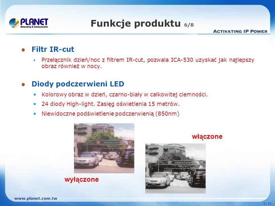 Funkcje produktu 6/8 Filtr IR-cut Diody podczerwieni LED włączone