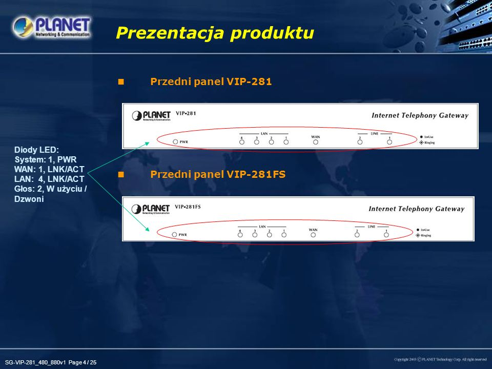 Prezentacja produktu Przedni panel VIP-281 Przedni panel VIP-281FS