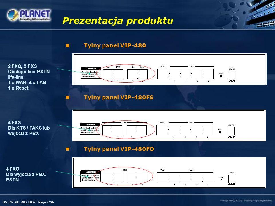 Prezentacja produktu Tylny panel VIP-480 Tylny panel VIP-480FS