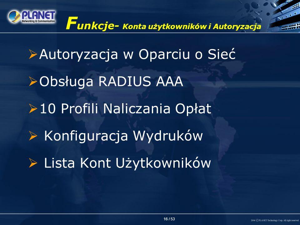 Funkcje- Konta użytkowników i Autoryzacja
