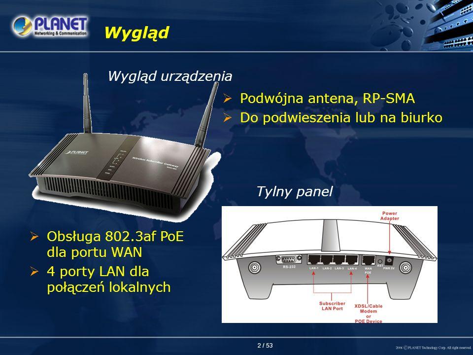 Wygląd Wygląd urządzenia Podwójna antena, RP-SMA