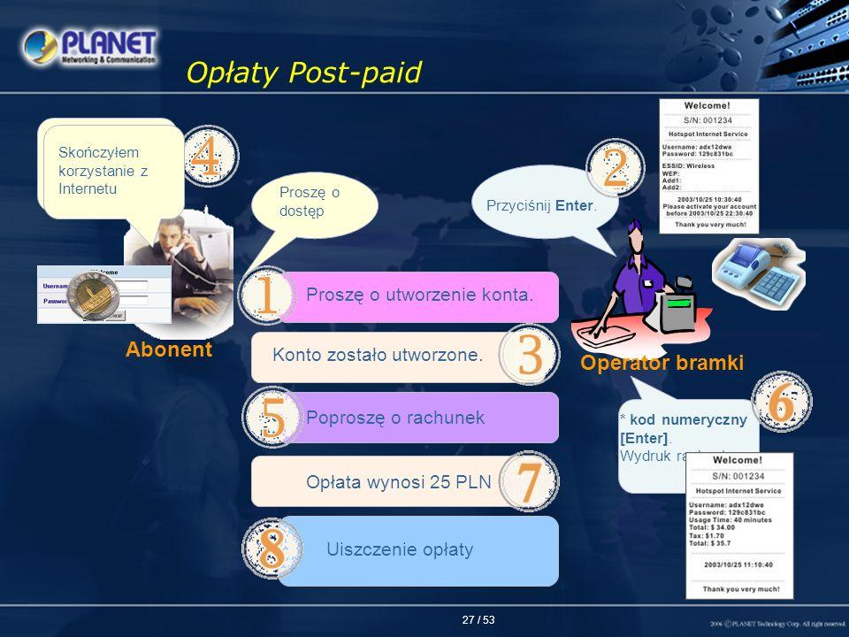 Opłaty Post-paid Abonent Operator bramki Proszę o utworzenie konta.