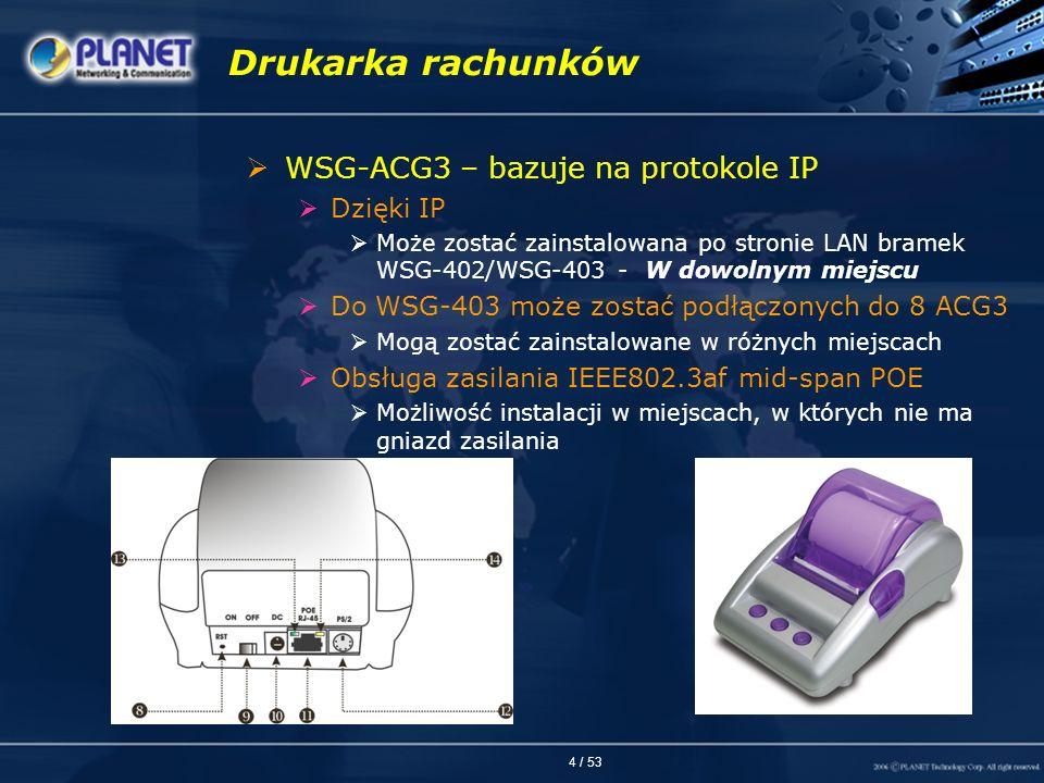 Drukarka rachunków WSG-ACG3 – bazuje na protokole IP Dzięki IP