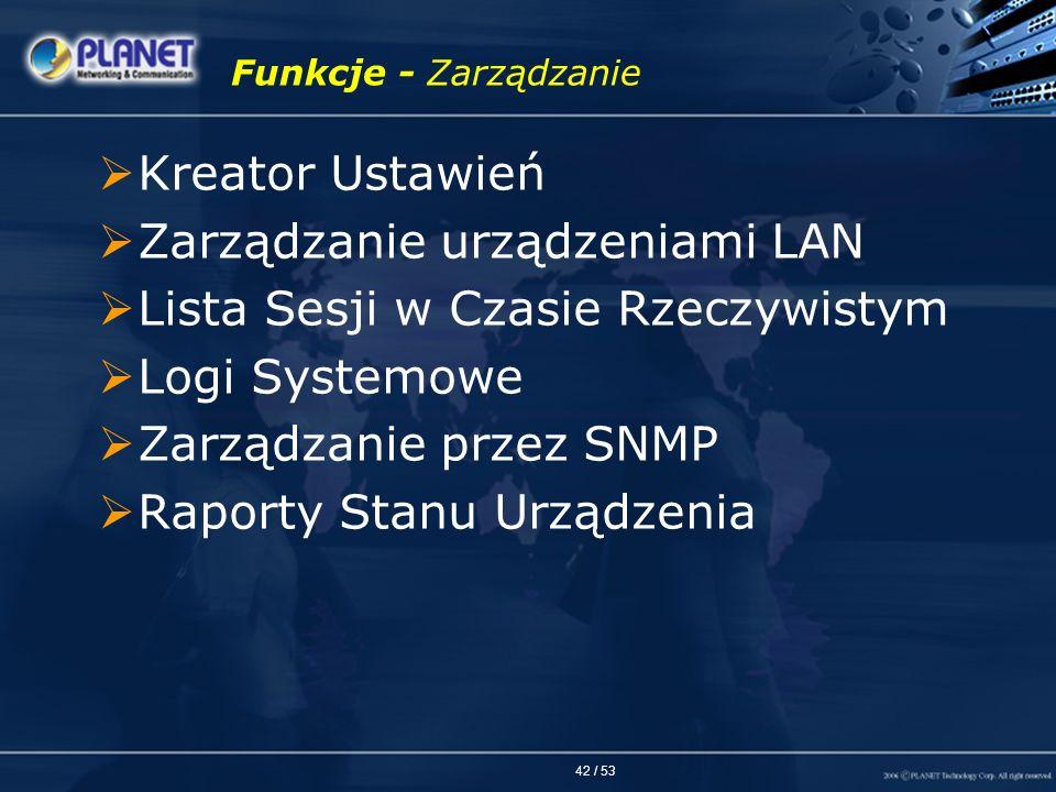 Zarządzanie urządzeniami LAN Lista Sesji w Czasie Rzeczywistym