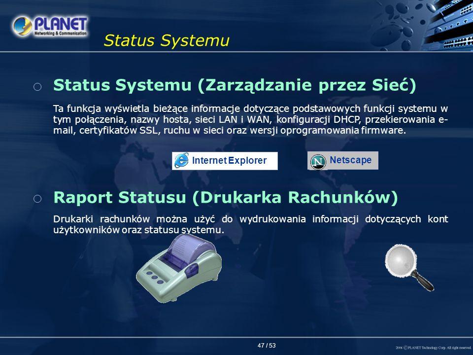 Status Systemu (Zarządzanie przez Sieć)