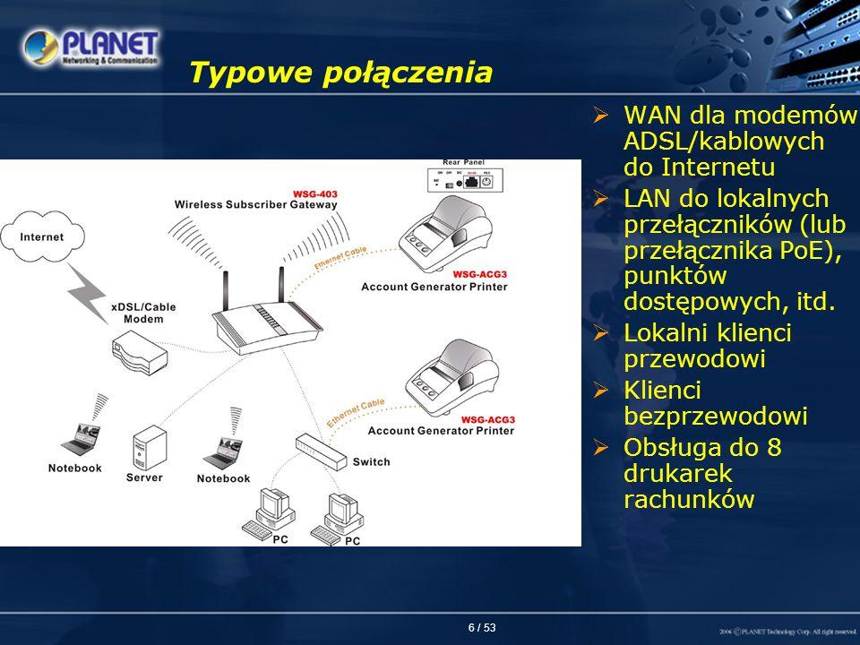Typowe połączenia WAN dla modemów ADSL/kablowych do Internetu