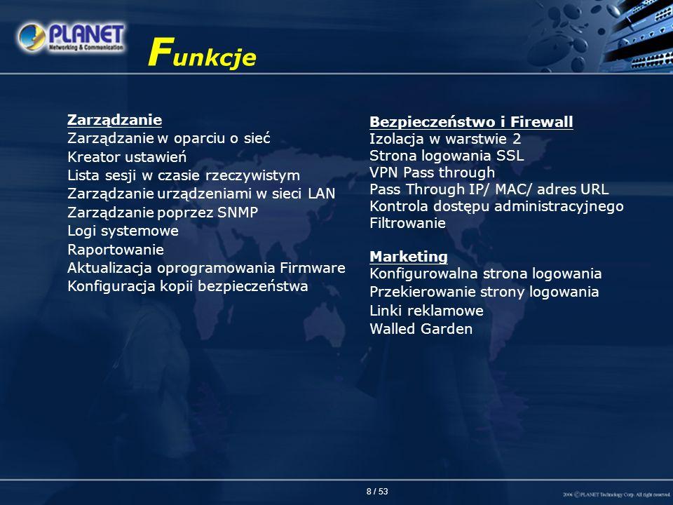 Funkcje Zarządzanie Zarządzanie w oparciu o sieć Kreator ustawień
