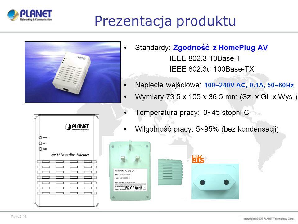 Prezentacja produktu Standardy: Zgodność z HomePlug AV