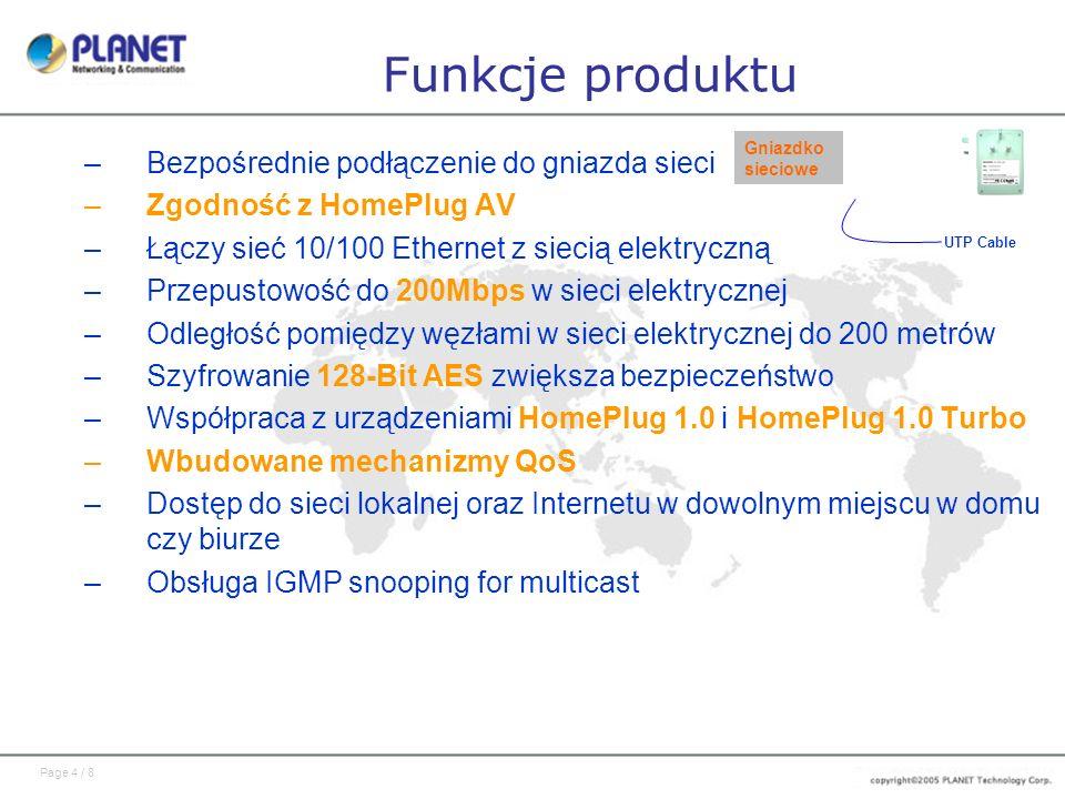 Funkcje produktu Bezpośrednie podłączenie do gniazda sieci