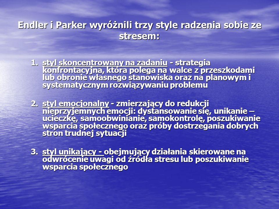 Endler i Parker wyróżnili trzy style radzenia sobie ze stresem: