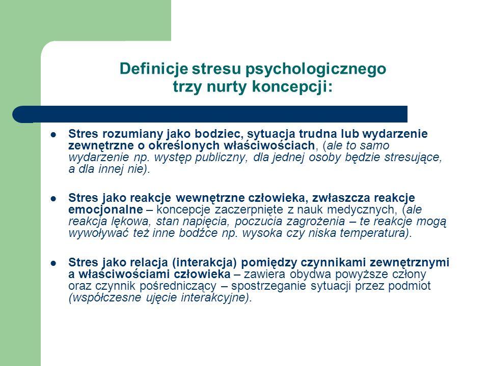 Definicje stresu psychologicznego trzy nurty koncepcji: