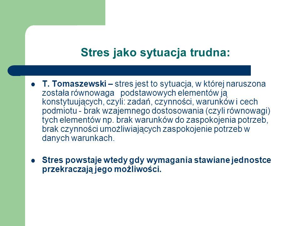 Stres jako sytuacja trudna: