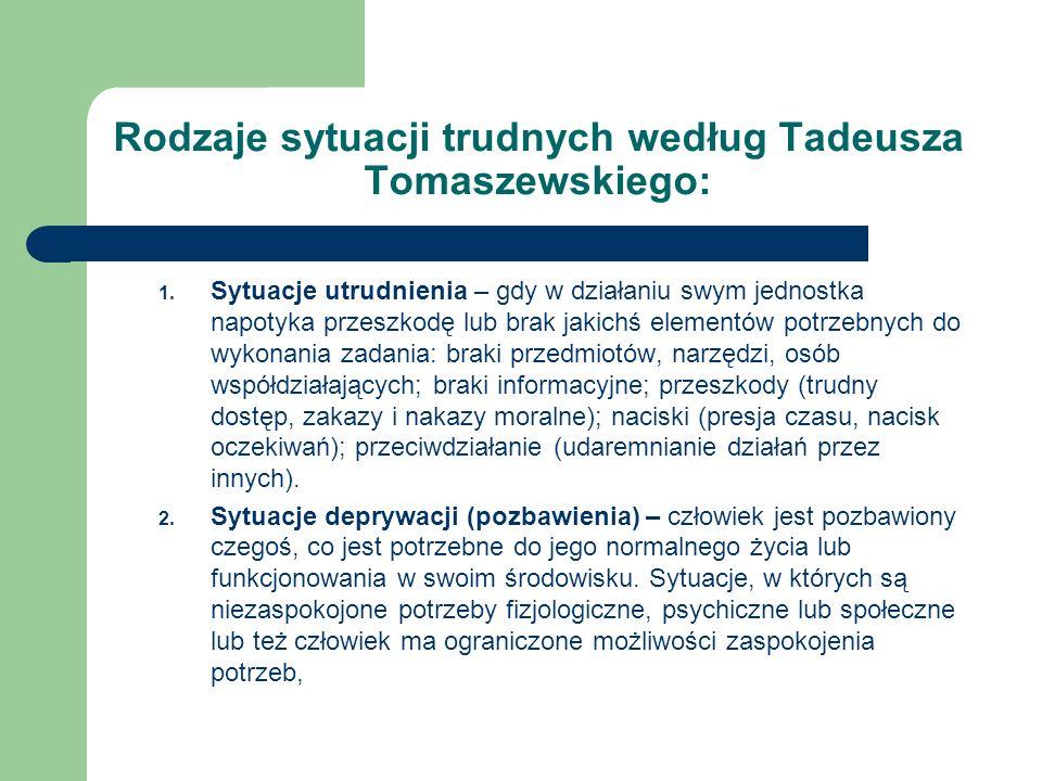 Rodzaje sytuacji trudnych według Tadeusza Tomaszewskiego: