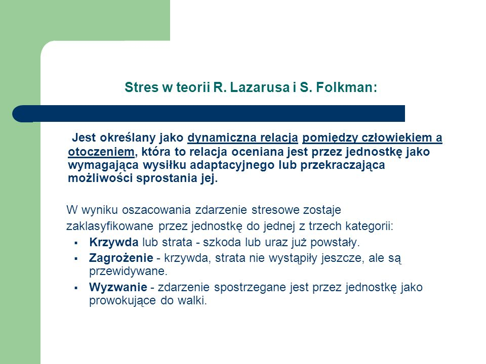 Stres w teorii R. Lazarusa i S. Folkman: