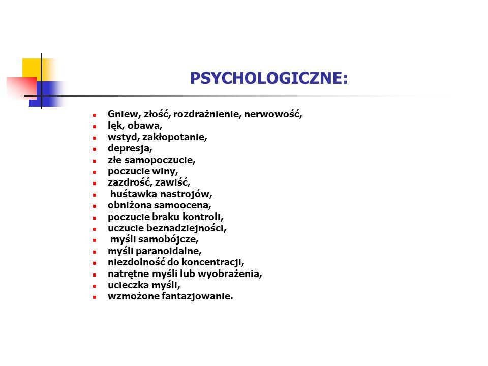 PSYCHOLOGICZNE: Gniew, złość, rozdrażnienie, nerwowość, lęk, obawa,